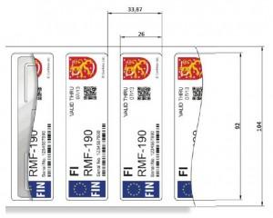 RFID UHF Confidex Windshield Label - Dimensioni